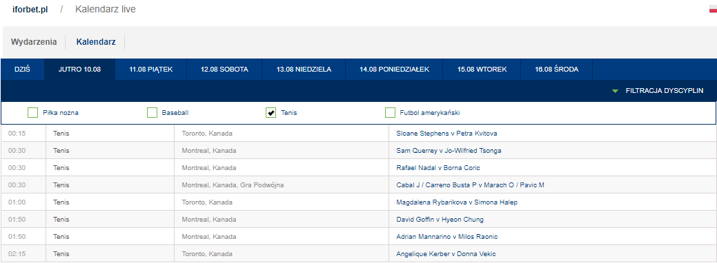 Kalendarz zdarzeń live u zakładów bukmacherskich forBet