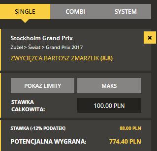 Kupon na wygraną Bartosza Zmarzlika w SGP Szwecji