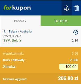 kupon na wygraną Belgii z Australią
